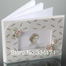 Free shipping wedding suppliers Elegant rose Themed Gusetbook In Ceramic