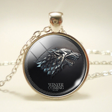 Song of Ice and Fire Glass Cabochon Jewelry Game of Thrones Pendant Necklace House Targaryen Dragon House Stark Wolf Logo