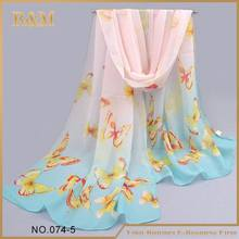 New Arrival Silk Chiffon Scarf Women Flower Butterfly Print Scarf Cachecol Feminino Summer Style Cheap Scarves Wholesale