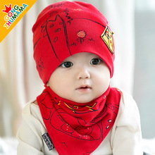 6-36M Baby Travel Hat Bib 2pcs Set Kids Girls Boys Hat Scarf Set Baby Sleeping Accessories Infantil Menina Kids Cap Clothes assy(China)