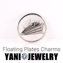 20pcs/lot Free Shipping Round Cruise Ship Metal Charms Floating Locket Window plates Charms For Glass Living Memory Locket