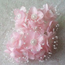 4CM Head,72PCS,White,Pink Satin Ribbon Fake Roses With Pearl Artificial Silk Flower Bouquet,Hair Ornaments,wrist corsage,Garland
