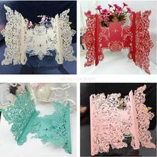 2016  Romantic  laser cut hollow Wedding Party Invitation Card Envelope Delicate Carved Flowers 10 pcs/set Free Shipping 5zSH200