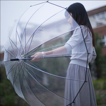 New Arrival Retail 1Pcs Color Transparent Umbrella Rain Women Semi-automatic Umbrellas High Quality#S867