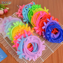 SCCJY Candy Color Silicone Disposable Rabbit Ear Crown Rubber Hair Band Children Hair Assessories A12R13C