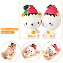 Cute Rilakkuma Watermelon Ice Cream Bear Cartoon Slow Rising Squishy Phone Straps Pendant Cream Scented Bread Kids Fun Toy Gift(China)