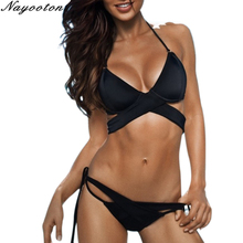 Buy Bikini Sexy Women Bandage Swimsuit 2018 Push Solid Bathing Suit Halter Top Swimwear Beach High Waist Swimming Suits