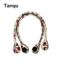 TANQU 1 Pair Short Long Floral Print Soft Faux PU Leather Handle for Obag Classic Mini O Bag Women Shoulder Handbag