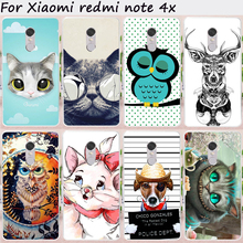 Cases For Xiaomi Redmi Note 4X Cover 4 X Note4X 5.5 inch Hard Plastic Soft TPU Cute Animal Cell Phone Bags Hood Housing Shell