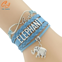 Waxed Cord And Braied Cord Bracelet Wording ELEPHANT 2016 New Pattern 5 Colors DHL Free Shipping PayPal Payment(China)