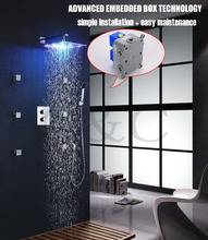 Buy Easy Installation Embedded Box 12 Inch LED 7 Colors Rainfall Shower Head Thermostatic Shower Faucet Set 002T-12-2C for $316.20 in AliExpress store