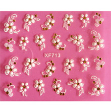 Lovely 3D flower design Water Transfer Nails Art Sticker decals girl women manicure tools Nail Wraps Decals(China)