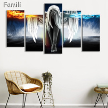 3pcs Living room home wall modern art decor canvas poster Angel Wings Fantasy irls science fiction sexy,decorative pictures(China)