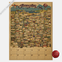 Paper Posters Retro Vintage paper posters Silicon Valley map of the world famous IT enterprise directory 80*60CM(China)