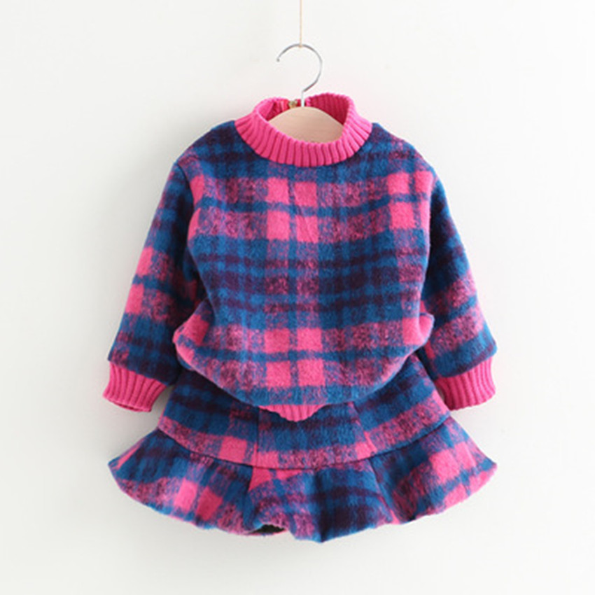 Hot 2017 autumn Winter Childrens Clothing Girls Baby Fashion Haircare Long Sleeve Coat + Skirt Two-Piece Outdoor Warmer Set <br><br>Aliexpress