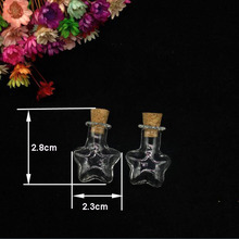 10sets/lot star shape Clear Empty Wishing Bottles Vial Necklace cork Perfume essential oil vial Pendant Glass Hand-Blown Charm