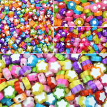LNRRABC 100pcs/Pack Hot Butterfly Star Plum Flower Children Girls Jewery DIY Beads Necklace Bracelets Loose Beads(China)