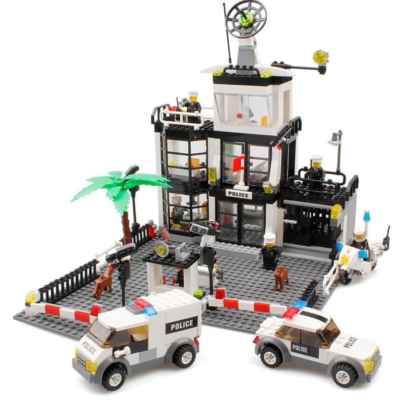 KAZI Police Station Building Blocks Toys For Children building Bricks Compatible With Legoe Minecraft Models Building Toys Gift<br>