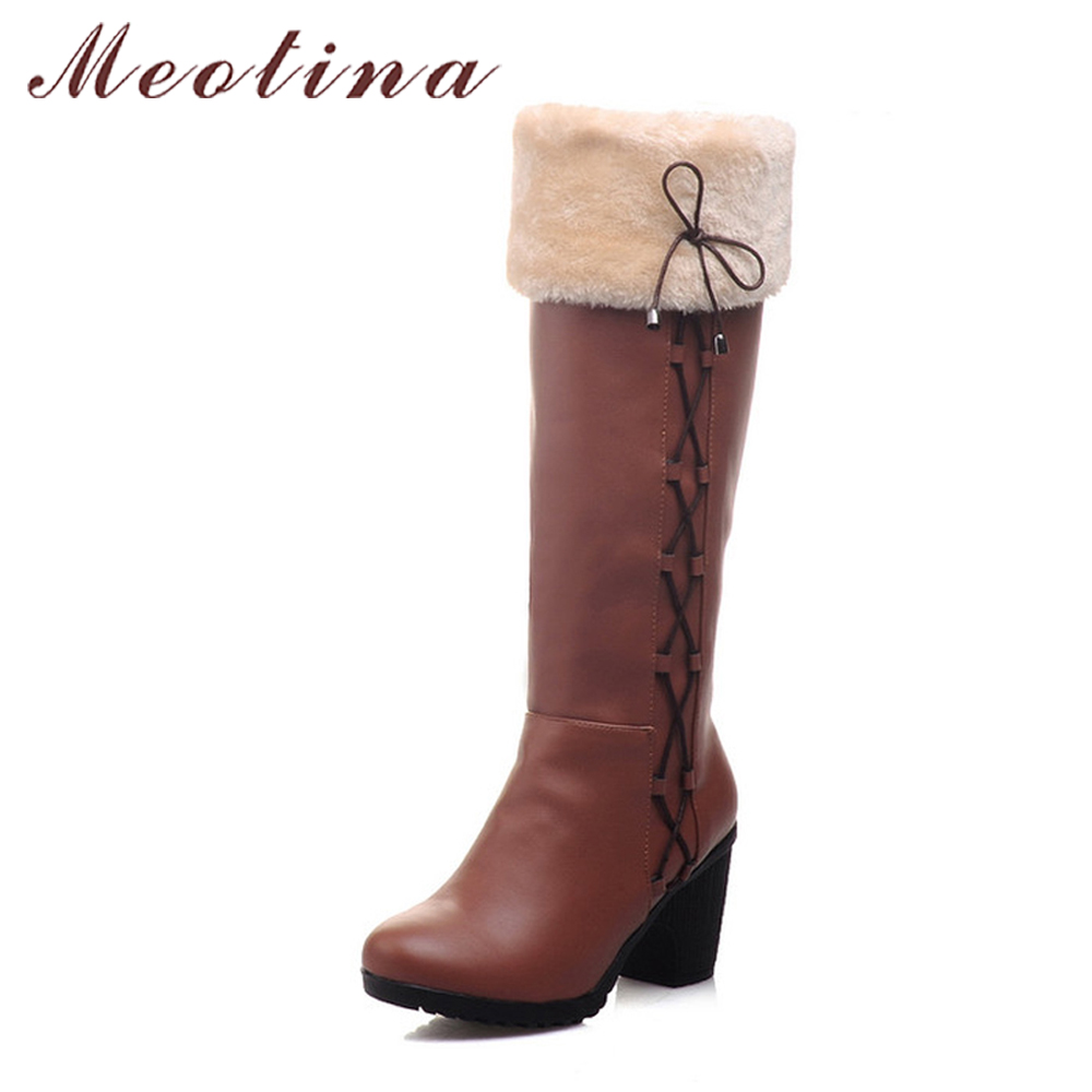 Meotina Boots Women Winter Snow Boots Fur Shoes Ladies Knee High Boots Bow Chunky High Heels Black Brown Large Size 42 43 9 10<br>