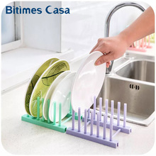 2017 New ABS Wet Drain Removable Easy Installation Dish Plate Storage Holders Shelf with Four Color Pink Purple  Green Blue