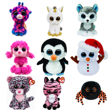 "6"" TY Beanie Boos Plush Toy Doll Giraffe Haunt the Owl Crawly Spider Tasha Leopard Scoop Snowman Waddles Penguin Unicorn Dog(China)"