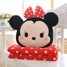Cute soft plush cartoon anime characters Mickey Minnie throw pillow cushion blanket toy,fashion daily household decorated gift