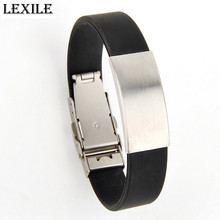 Top Quality Stainless Steel Smooth Black Bracelet Adjustable Men's Silicone Bracelet Can Be Engraved Glossy Bracelet Jewelry(China)