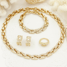 Fashion Dubai Gold Plated Jewelry Sets Italy Crystal Bride Wedding Jewelry Set Christmas jewelry gift