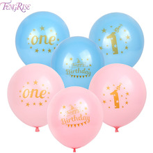 12pcs First birthday balloons 1st birthday balloon party decoration kids happy birthday pink blue balloon with gold writting(China)