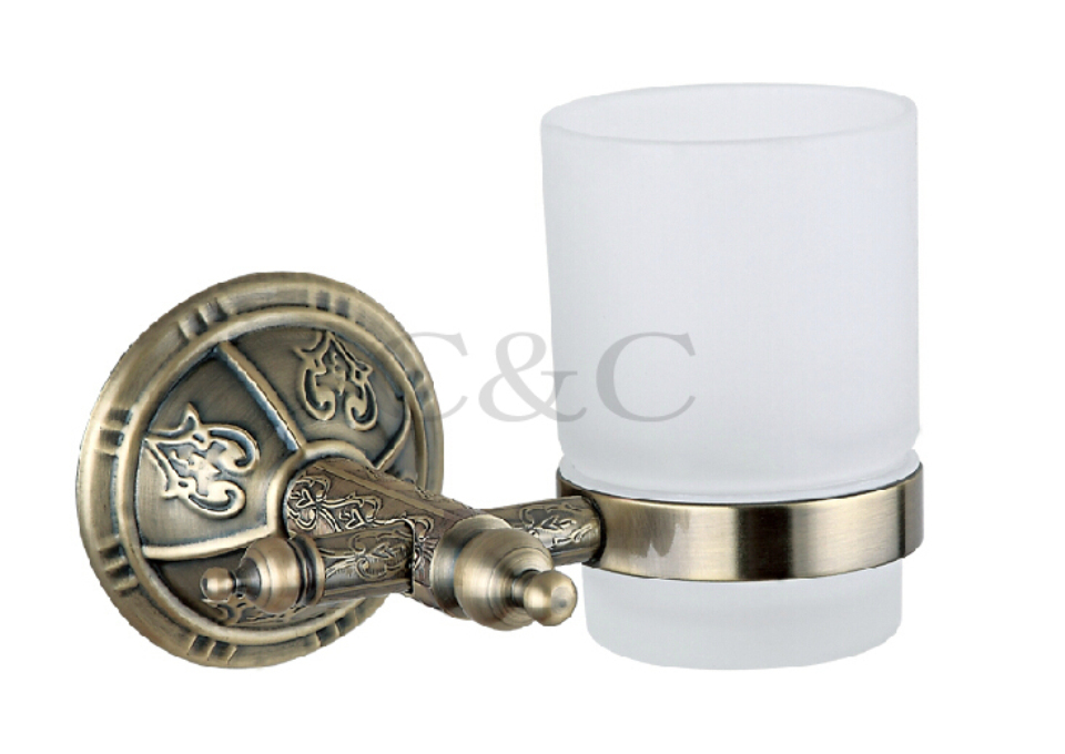Noble And Elegant Solid Brass And Glass Antique Plating Bathroom Tumbler Cup Holder 1109<br>
