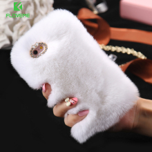 FLOVEME For iPhone X 6 6s Plus Rabbit Fur Hair Case For iPhone 5 5S SE 6 6S 7 X Glitter Diamond Case For iPhone 7 Plus 6 6S Plus(China)