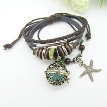 Wooden Beads and Green Crystals Fashion Leather Oil Diffuser Locket Charm Bracelet(China)