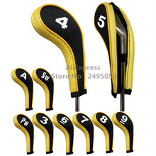 Free Shipping 10pcs/set Hot Sale Washable Sleeve Neoprene Golf Club Iron Putter Headcovers Head Cover Protect Case Pocket yellow