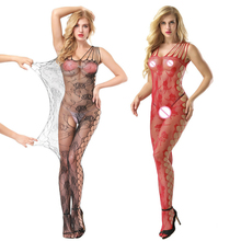 Buy Women Sexy Lingerie Stockings Costumes Voile Mesh See Fishnet Babydoll Sexy Costumes Underwear Teddies Dress Crotchless