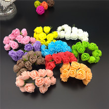 APRICOT 12pcs/lot Cheap Mini Rose Artificial Flower Foam flower DIY flower Balls Headdress Wedding decoration Bridal Flowers