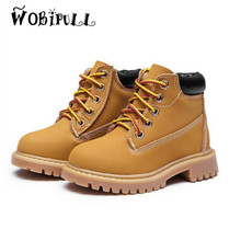 WOBIPULL Children's yellow Martin boots 2017 autumn winter boys girls high quality 2-12-year British style Genuine Leather shoes(China)