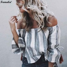 FANALA New Women 80`S Retro Striped Print Slash Neck Flare Sleeve Tassel Off Shoulder Tee Shirt Cropped Top Sexy Fashion Blusas(China)