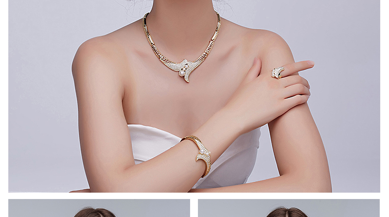 CWEEL Jewelry Sets For Women African Jewelry Set Simulated Pearl Wedding Jewellery Gold Color Luxury Dubai Jewelry Sets (2)