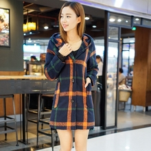 Lguc.H Women Fashion Plaid Wool & Blends Coats Cute Lovely Women's Spring Casual Hooded Coat Brand Slim XS,S,M,L,XL Autum Winter