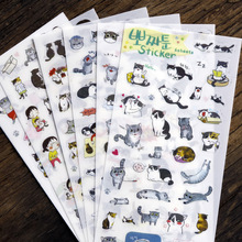 Buy Waterproof Cartoon Animal DIY Notebook Diary Stickers Cute Cats laptop Stickers Gift Wrap Stickers 6 Sheets/Set for $1.19 in AliExpress store