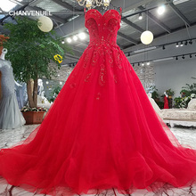 LS8663# lace up strapless sleeveless flowers red applique sweep train evening dress shopping online vestido de fiesta real photo(China)