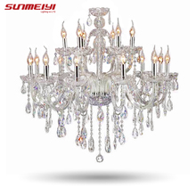 Large Luxury Crystal chandelier Living Room lustre sala de cristal Modern 18 Arm Chandeliers Light Fixture Wedding Decoration(China)