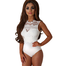 SEBOWEL 2017 Sexy Bodysuit Women Black Lace High Neck Cut Out Back Bodycon Jumpsuits Romper Combinaison Shorts Playsuits