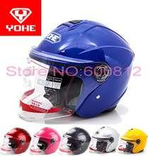 2016 New YOHE half face motorcycle helmet motorbike helmets YH870A Made of ABS with transparent lens 13 colors SIZE M L XL Blue