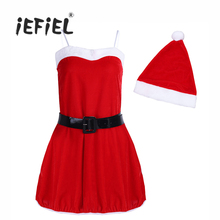 iEFiEL 3PCS Women Velvet Christmas Santa Halloween Costume Cosplay Dress with Hat and Waist Belt for Stage Performance Clothing(China)
