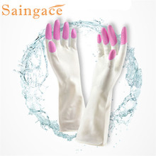 Saingace Long Sleeve latex Kitchen Wash Dishes Dishwashing Gloves House Cleaning Glove DROP SHIP