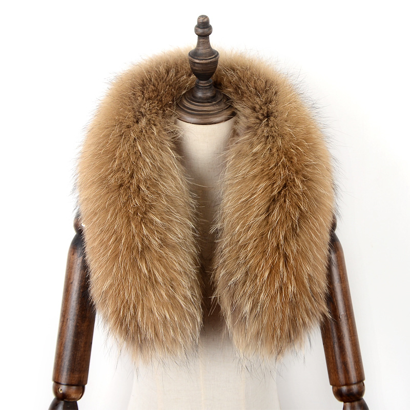 JKP women's The New raccoon fur collar pike down female color leather grass super large collar fur strip dyed color commis warm