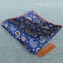 Mantieqingway Paisley Floral Pocket Square Polyester Silk Handkerchiefs Wedding Party Chest Towel for Mens Suit 25cm Hanky