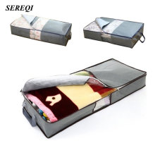 SEREQI 70L Non-Woven Family Save Space Organizador Bed Under Closet Storage Box Clothes Divider Organiser Quilt Holder Organizer(China)
