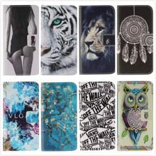 Fashion Leather Flip Phone Case for Samsung Galaxy J5 J500 J500F Sexy Girl Tiger Lion Owl Painted Wallet Cover with Card Holder